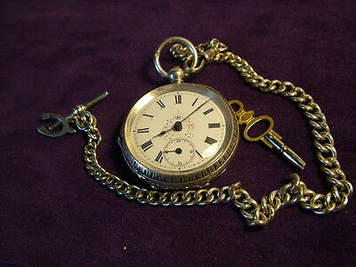 Antique silver ladies fob watch and silver Albert chain key wound