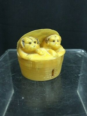 Vintage Celluloid Retractable Sewing Tape Measure of Dogs in Basket