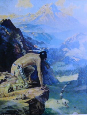 Indian looking ver cliff  at settlers R. ATKINSON FOX vintage art