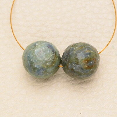 15Mm - 16Mm Natural Green Fuchsite Gemstone Faceted Round Beads
