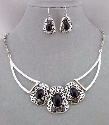 Silver Filigree Black Acrylic Necklace Earrings Set Fashion Jewelry NEW