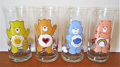 Four (4) Care Bear Pizza Hut Collector Series Glass 16 Oz. Tumblers 1983