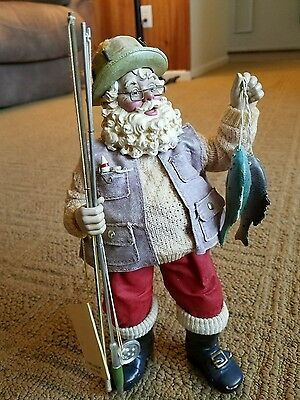 KSA Collectibles Fabriche Santa with Fish And Fishing Poles Figure Kurt Adler