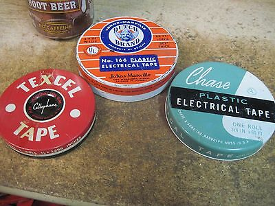 Store Tins 3 Metal Cans Tape Containers Vintage Empty Advertising Electrical