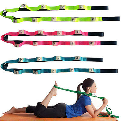 Adjustable Yoga Stretch Strap 10-Loop Belt Fitness Resistance Exercise Band LC