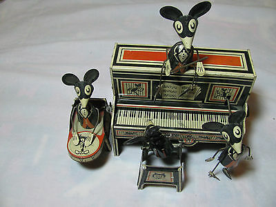 Vintage Marx Merrymakers Mouse Band Tin Wind Up  Working