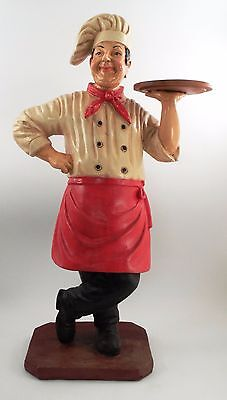 "39"" Standing Pizza Chef Wine Steward Butler w/ Tray Restaurant Bar Sign Greeter"