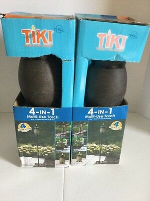 TIKI (Pack of 2) 64 in. Resin Jar 4-in-1 Backyard Deck Patio Torch Stone Color