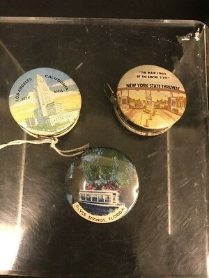 Lot of 3 Vintage Metal Souvenir Tape Measures, NY Florida California