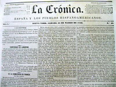 Rare 1849 New York City HISPANIC NEWSPAPER in the Spanish language  LA CRONICA