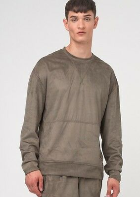 Religion Faux Suede Mens Jumper In Khaki In Size M