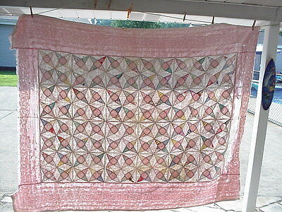 """VINTAGE or ANTIQUE QUILT FOR REPAIR OR CUTTER, 80""""X62"""" APPROX.."""