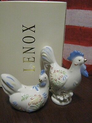 * LENOX *  ROOSTER & CHICKEN HEN * SALT & PEPPER SHAKERS * NEW In BOX *