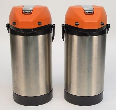 Lot of 2 Fetco Airpot 99017 3 Liter Pump Lever Coffee Dispenser Orange Lid