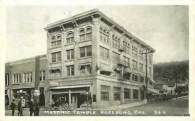 C-1915 Masonic Temple Roseburg Oregon RPPC Real photo postcard 637