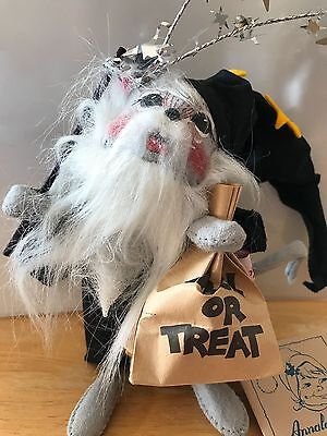 """1994 Annalee 6"""" Halloween Wizard Mouse #3007 with Trick or Treat Bag & Wand Tag"""