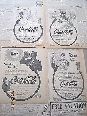 "Lot of NINE vintage Coca-Cola Arrow Newspaper Ads~mostly 1911~most 7""x10"""