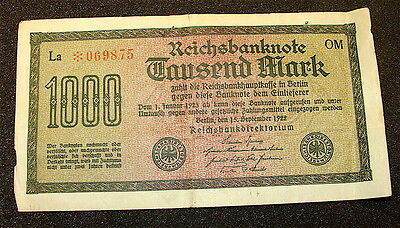 1922~~Germany~~~1000 Mark Currency Note
