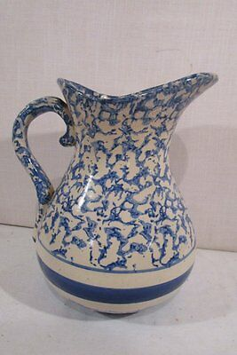 LARGE ANTIQUE 19th Century  Blue & White Sponge Ware Water Pitcher with Bands