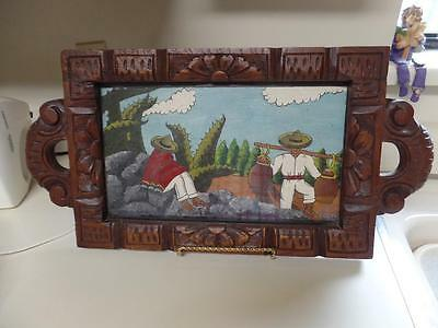 Lovely Vintage Handpainted & Hand Carved Mexico Serving Tray Tlaquepaque Tonala