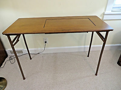 Vintage Folding Sewing Table Wood Stand Fits Singer Bernina Pfaff + Mid Century