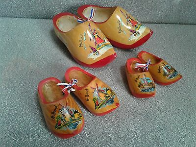 3 Pairs  Vintage Wooden Holland Windmill Dutch Clogs