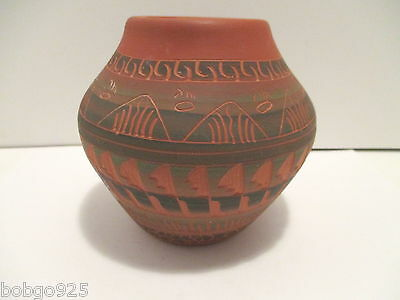 Vase Native American Pottery D. Johnson Incised Design 4 1/2 inches tall Signed