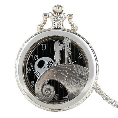 Tim Burton The Nightmare Before Christmas Necklace Pocket Watch Silver Steampunk