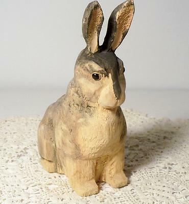 """Vintage Hand Carved Wood Bunny Rabbit~5 1/8"""" Tall w/Painted Facial Features"""