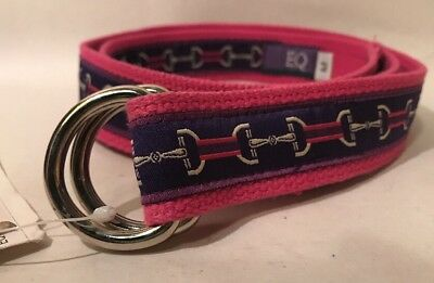 EQ Ribbon Belt Pink Purple Stripe Embroidered Horse Bit Girls MEDIUM