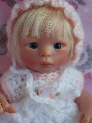 "Tiny OOAK 6"" Handsculpted Polymer Clay Baby Girl Doll Melody Hess Resell"