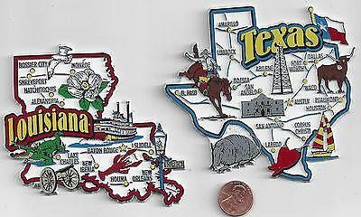 LOUISIANA and TEXAS   STATE  MAP JUMBO   MAGNETS 7  COLOR   NEW USA  2 MAGNETS