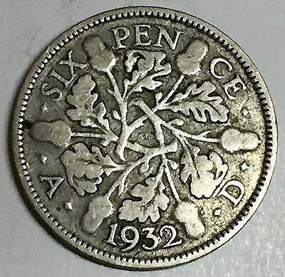 C3688    Great  Britain   Coin,    Six  Pence    1932