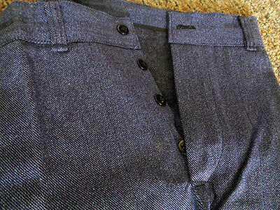 Vtg 30's/40's Whipcord Denim Salt & Pepper Work Pants Button Fly Deadstock