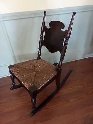 Antique Petite  Childs Rocking Chair w/Rush Seat
