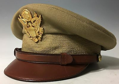 Gorgeous Wwii Us Aaf Tan Officers Luxenberg Ny Crusher Cap W/ Hat Badge Sz 6 3/4