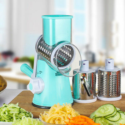 AU Kitchen Multifunction Vegetable Food Manual Rotary Drum Grater Slicer Chopper