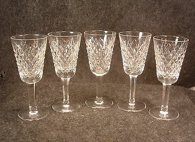 5 Waterford Crystal Glass Alana Pattern Sherry Wine Stems 5 & 1/8 Inch Tall