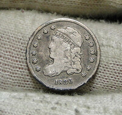 1836 Capped Bust Half Dime H10C 5 Cents - Nice Old Coin, Free Shipping  (6011)