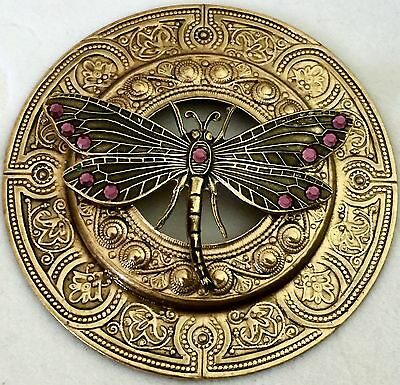 "EXTRA SUPER LARGE 3""INCH Stamped Brass Antique & Vintage""JUMBO DRAGONFLY"" Button"