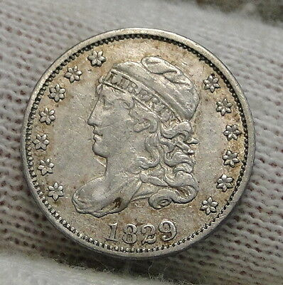 1829 Capped Bust Half Dime H10C 5 Cents - Nice Old Coin, Free Shipping  (6290)
