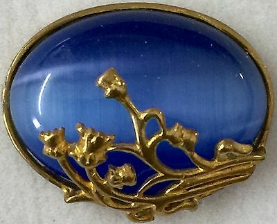 "GAY 90'S~SAPPHIRE GLASS DOME STONE~1"" INCH~Brass Wrapped Antique Vintage Button"