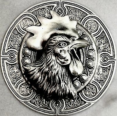 "HUGE 3""INCH  Sterling Silver Overlay On Stamped Brass""ROOSTER PICTURE BUTTON"""