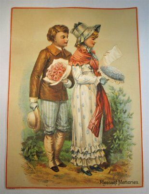Antique Victorian Trade Card Large 7x5  Multi Color Lovers Pleasant MemoriesC836