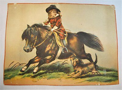 Antique Victorian Trade Card Large 7x5 Child on Pony Grady's Boots & Hats C837