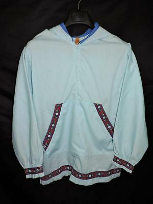 Alaska Native Eskimo L Blue Kuspuk Shirt Jacket Red Floral Trim Traditional Hood