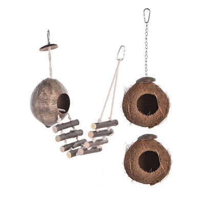 Bird's Coconut Shell Breeding Nest Parrot Hamster Swing Hanging Toy Climb Ladder