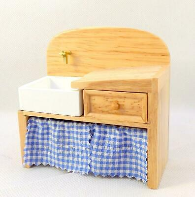Dolls House Light Oak Victorian Scullery Sink with Curtain Kitchen Furniture