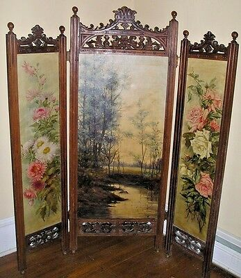 Antique Eastlake 3 Panel Carved Hand Painted Screen Floral Scenic Signed 1898