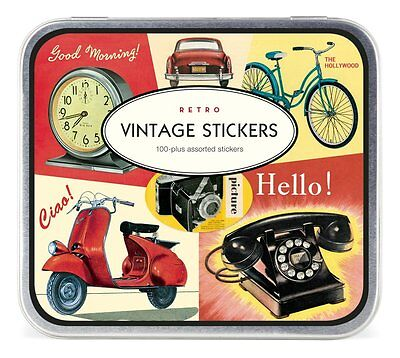 Cavallini Vintage Stickers Retro - Design Metallschachtel Etiketten Dekoration